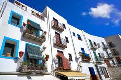 Peniscola old village in Castellon of Spain. Mediterranean downtown royalty free stock photo