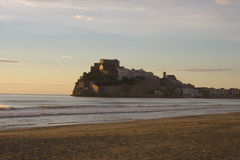 Peniscola północy plaża Styczeń 15, 2015 Obraz Stock
