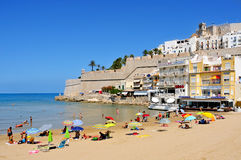 Peniscola, Spain. JULY, 26: Bathers in North Beach, facing the castle, on July 26, 2013 in . The town is a typical summer destination in the North of the Royalty Free Stock Photography