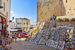 Peniscola, Spain. JULY, 26: Tourists in souvenir stores surrounding the castle, on July 26, 2013 in . The town is a typical summer destination in the North of Royalty Free Stock Photography