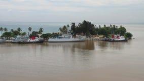 Penisola in bocca del fiume di Ozama Santo Domingo, Repubblica dominicana stock footage