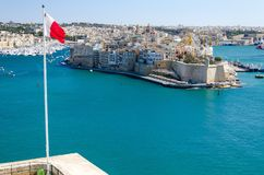 Penisola di L-Isla, porto e grande porto di La Valletta, Malta immagine stock libera da diritti