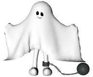Penitent ghost with ball and chain. Funny man dressed as ghost generated 3D Stock Photos