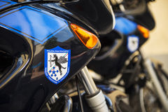 Penitentiary police. The motorcycles of the prison used during transport of detainees Stock Photography
