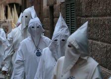Penitents во время шествия пасхи Стоковое фото RF