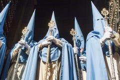 Penitents der Bruderschaft von San Esteban Stockfotografie