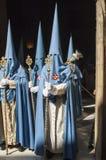 Penitents der Bruderschaft von San Esteban Stockbild