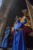 Penitents der Bruderschaft von San Esteban Stockfotos