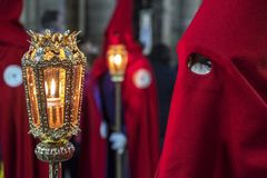 Penitents in easter week celebrations in Spain. Penitents in easter week celebrations. Penitents in their procession in Spain royalty free stock photos