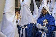 Penitents in easter week celebrations in Spain. Calanda, Teruel, Spain - March 30: Penitents in easter week celebrations, the sound of drums can be heard in stock photo