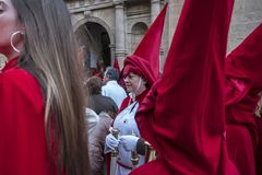 Penitents in easter week celebrations in Spain. Calanda, Teruel, Spain - March 30: Penitents in easter week celebrations, the sound of drums can be heard in royalty free stock photo