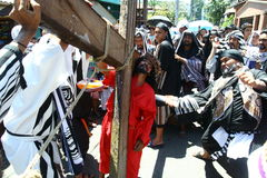 Penitents reenacting the Passion of Christ. Royalty Free Stock Image