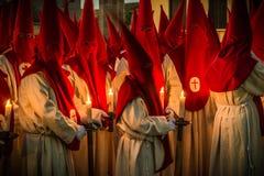 Penitents. Zamora procession ` Oath of the Silence Stock Image