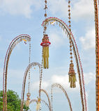 Penjor Balinese celebration of Galungan Royalty Free Stock Photo