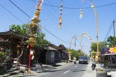 Penjor under Galungan ferie i Bali arkivbilder
