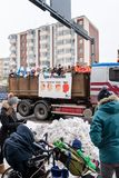 Penkkarit 2018 on Tampere Finland. Tampere, Finland, 15. February 2018: Students of the upper secondary school are celebrating the last day of the school before Stock Photos