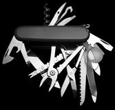 Penknife. Multitool Penknife isolated on black Stock Photos