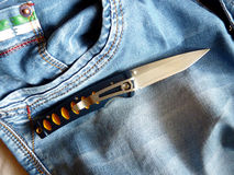 Penknife with a blade from Damask steel Stock Image