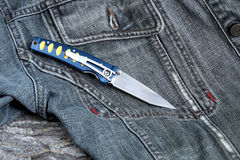 Penknife with a blade from Damask Royalty Free Stock Photography