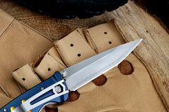 Penknife with a blade from Damask steel Stock Photo