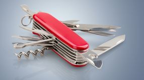Penknife. Work Tool Camping feature Isolated equipped Red Royalty Free Stock Photography