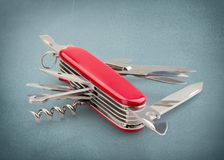 Penknife. Work Tool Camping feature Isolated equipped Red Stock Images