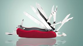 Penknife. Work Tool Single Object Red Scissors Corkscrew Sparse Stock Photos