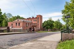 Penkovy Hemp bridge with a genuine cast-iron pavement in Kronstadt, Russia Stock Photography