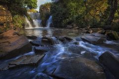 Penllergare Valley waterfall royalty free stock images