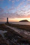 Penmon-Leuchtturm Wales Stockfotos