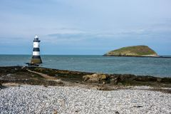 Free Penmon Lighthouse On Anglesey, And Puffin Island North Wales. Stock Image - 163812571