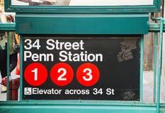 Penn驻地和第34个街道地铁标志 免版税库存照片