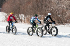 2014 Penn Cycle Fat Tire Loppet - Drie Fietsers op Cursus Stock Foto's