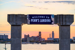 Penn's Landing and Market street in Philadelphia stock photography