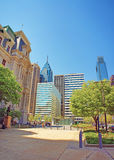 Penn Square and Penn Center and skyline of skyscrapers in Philadelphia. In Pennsylvania, USA. It is central business district in Philadelphia. Tourists nearby stock image