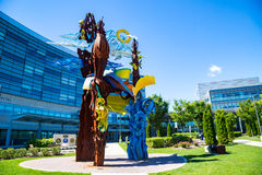 Penn State Hershey Display Sculpture. Hershey, PA - August 22, 2016: Large art sculpture at Penn State Hershey Medical Center the entrance of the Children's Royalty Free Stock Photo