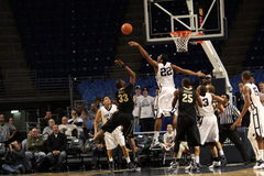 Penn State's Andrew Jones blocks Purdue's No. 33 E'Twaun Moore shot Stock Photos