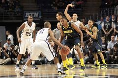 Penn State's D. J. Newbill is defended by Michigan's Glenn Robinson III Stock Photography