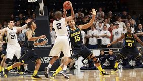 Penn State's #2 D. J. Newbill passes Royalty Free Stock Photo