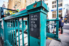 Penn Station Entrance. NEW YORK CITY - DEC. 12, 2013: Street entrance to subway at Pennsylvania Station on 34th Street in midtown Manhattan.  This station is a Stock Photography