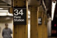 Penn Station, New York City. Detail inside subway station at Penn Station, New York City Stock Photography