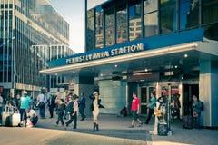 Penn Station New York City. NEW YORK CITY - SEPTEMBER 24, 2015: View outside Pennsylvania Station in New York City Stock Photography