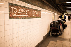 Penn Station NYC. NEW YORK CITY - MARCH 13, 2015:  View of underground subway station in historic Penn Station in Midtown Manhattan Royalty Free Stock Photo