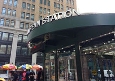 Penn Station, Pennsylvania Station, New York City, NYC, USA. Entrance to Penn Station, integral NYC transit hub, at the corner of West 31st Street and 7th Avenue Stock Image