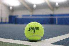 Penn tennis ball at indoor court Stock Photos
