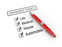 penna 3d e polizza d'assicurazione Immagine Stock Libera da Diritti