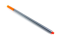 Penna arancio isolata su bianco Immagini Stock Libere da Diritti