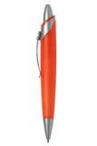 Penna arancione con clip d'argento Fotografia Stock