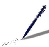 Penna blu con un grafico Immagini Stock