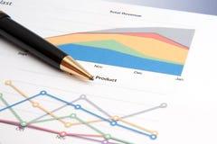 Penna che riposa su un diagramma di prestazione di vendite immagini stock